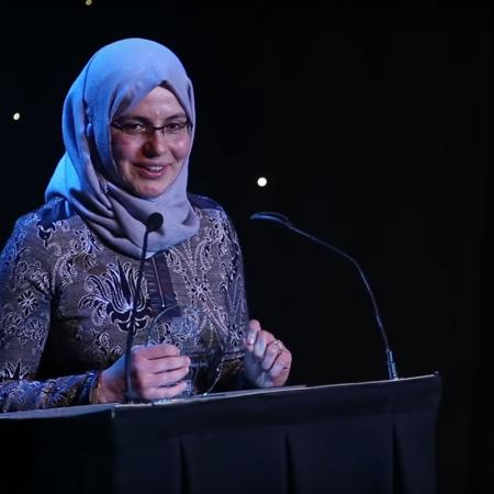 award winner making a speech