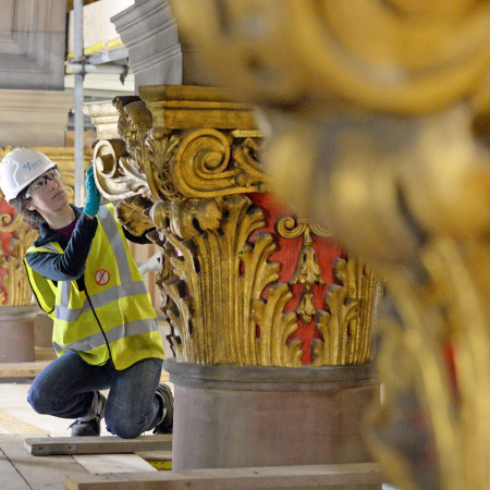 student undertaking restoration work McEwan hall