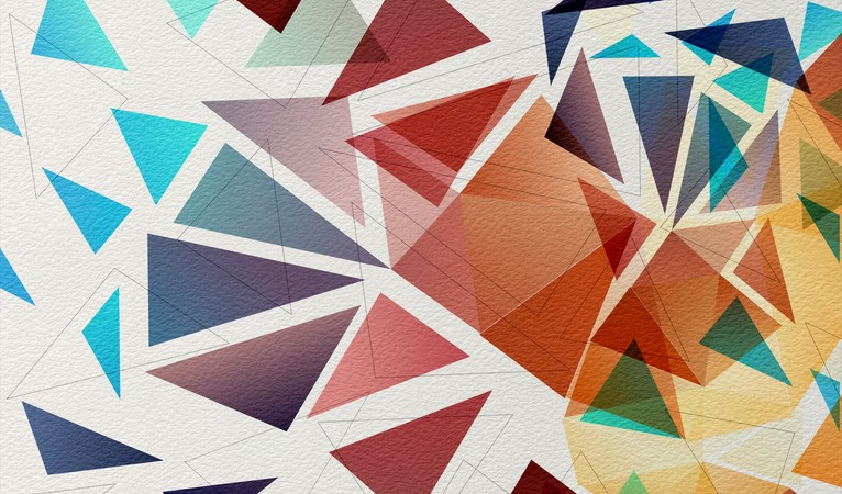 Multicolored mosaic background on watercolor paper Background