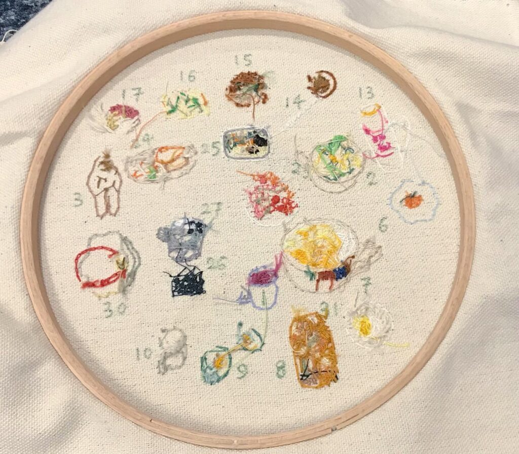 Embroidery of food consumed during quarantine made by the author