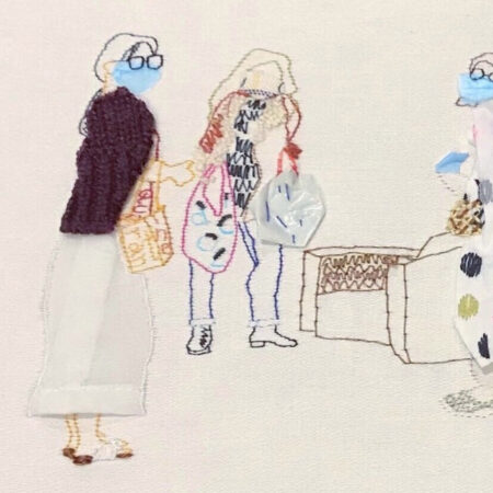 Illustration produced with hand embroidery of three women wearing masks carrying bags