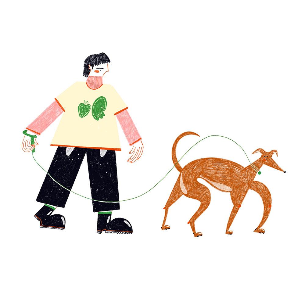 Illustration of author walking her dog.