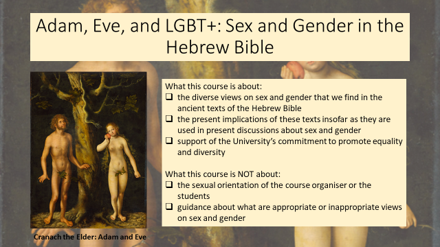 Presentation slide from the course that describes what the course is and isn't about.
