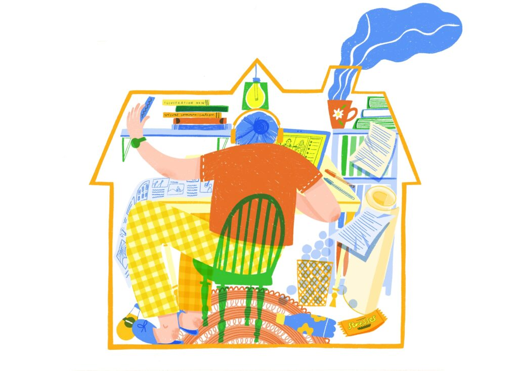 Illustration of student studying with the outline of a house confining her to a small space.
