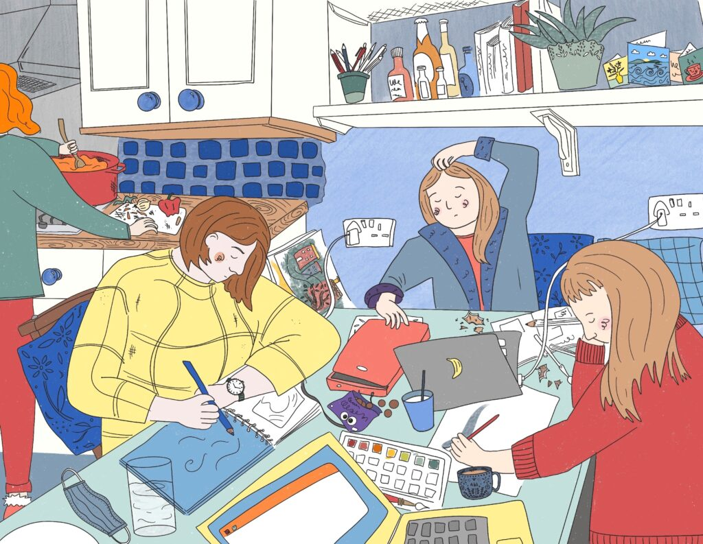Illustration of four women working in a cramped kitchen at a crowded kitchen table with laptops and artist materials covering every inch of the table.