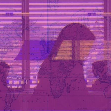 Mashup image of students in the library with a world map in the background.