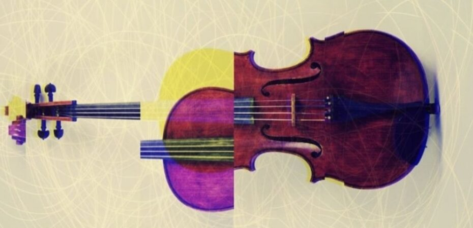 Fragmented photograph of a violin.