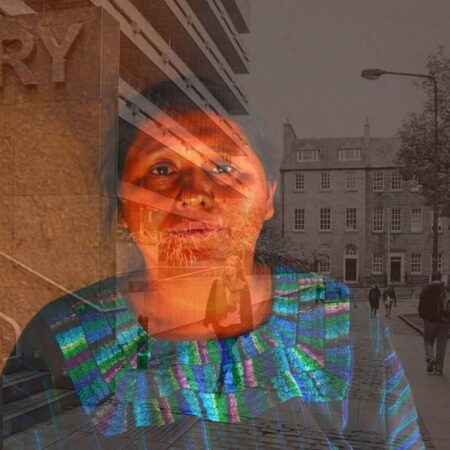 Picture of an indigenous woman from Latin America superimposed over a picture of the exterior of the University of Edinburgh Library building.