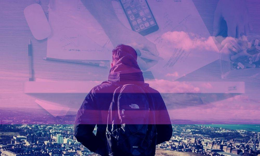 Image of man overlooking city of Edinburgh with image of person working at a laptop superimposed on the sky