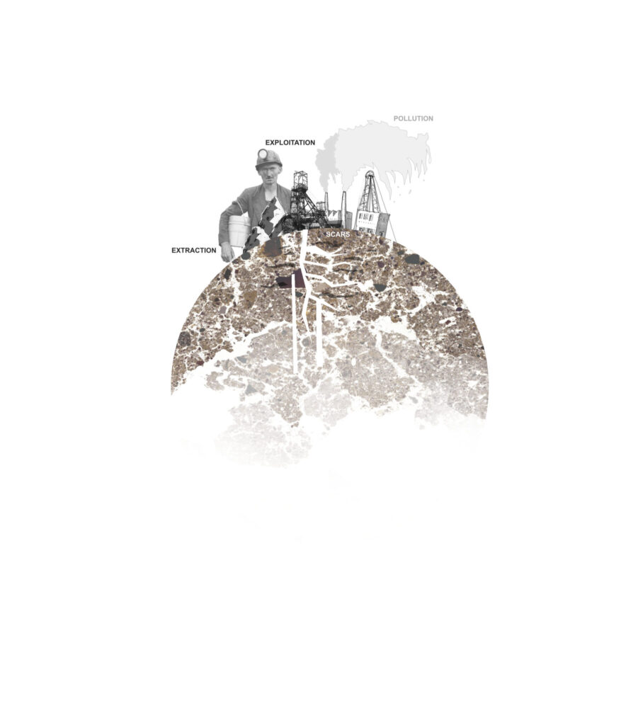 Mixed-media illustration of coalminers and equipment on top of a globe made out of coal