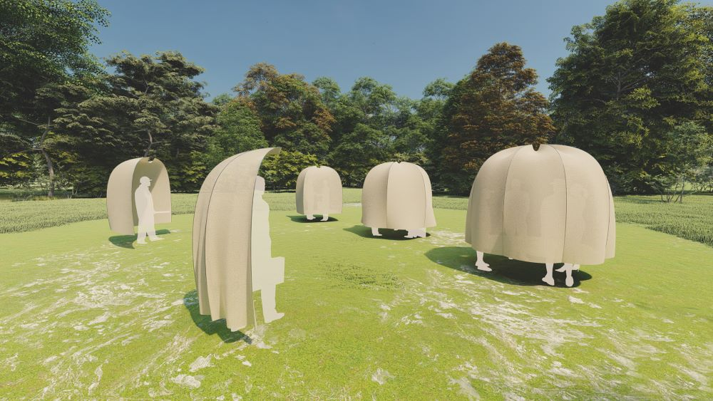 Photograph of architectural design of figures covered by beige half-domes in a field