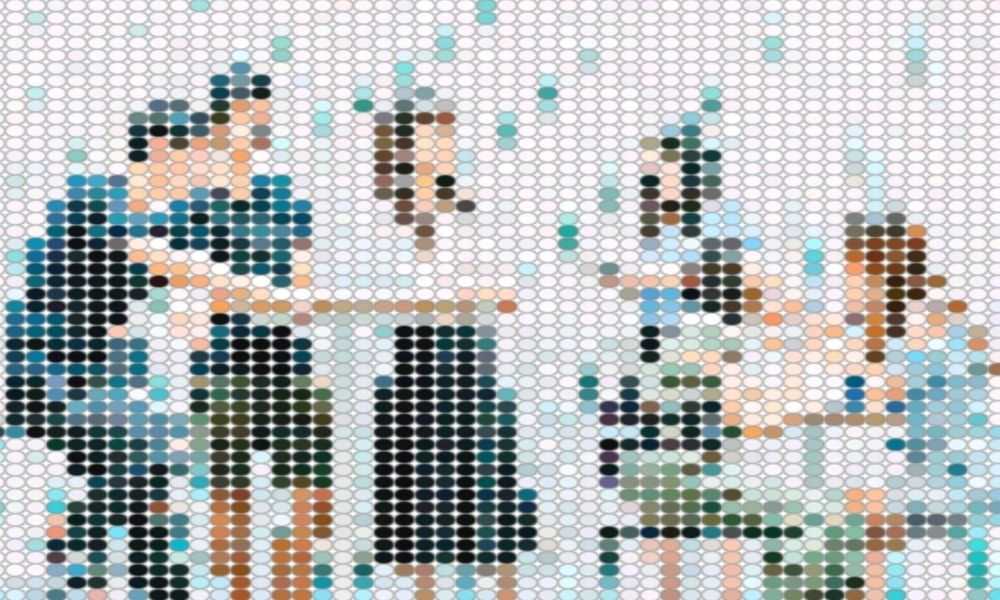 Pixelated image of students discussing