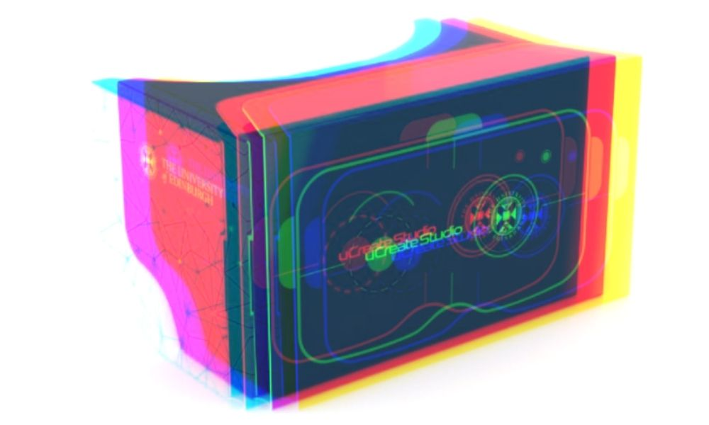 Photograph of a cardboard virtual reality headset produced by the ucreate studio at the University of Edinburgh