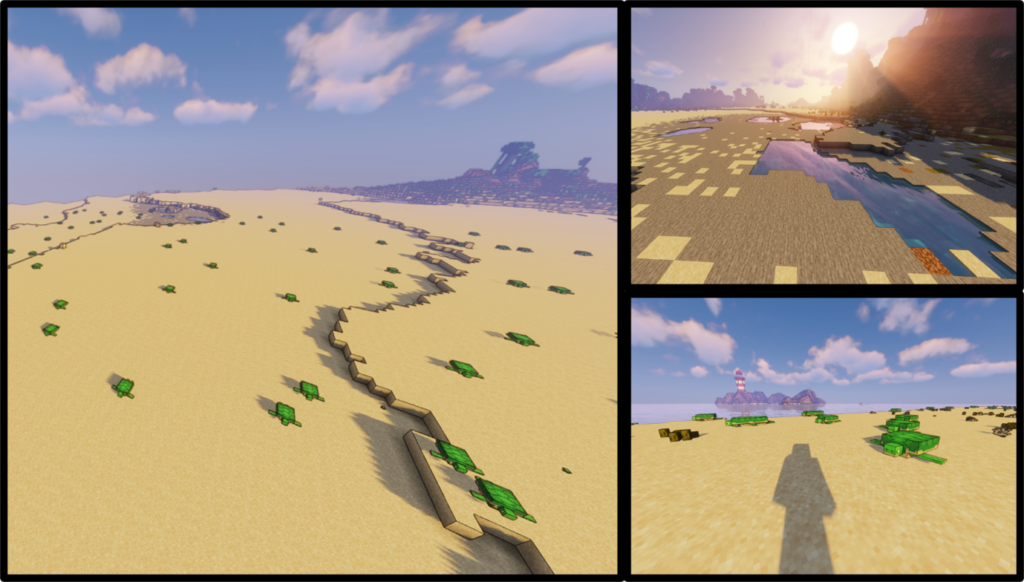 Screengrab of a desert landscape created in the video game Minecraft