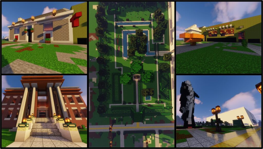 Screengrab of a virtual world created by the authors. The image depicts buildings with columns, manicured lawns and cobblestone pathways.