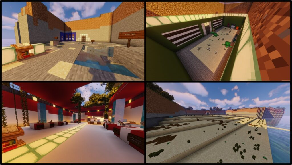A screengrab of a set of pictures depicting outside courtyards, indoor collection areas and open spaces with blue skies and a sea.
