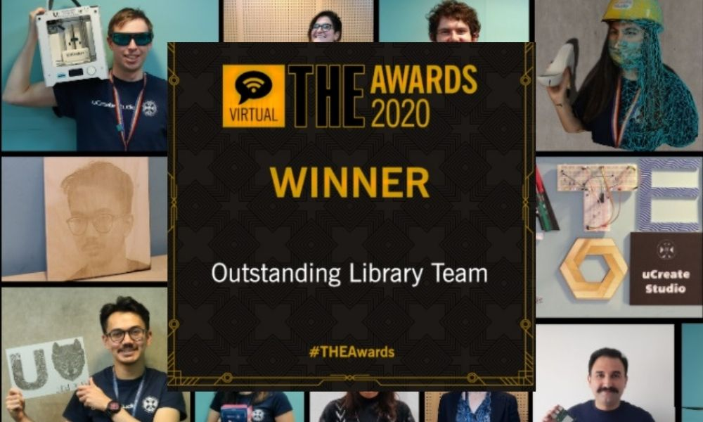 photograph of the uCreate studio team and the award from the TES superimposed.