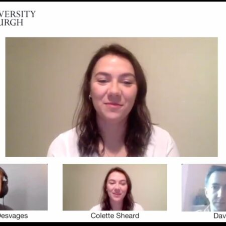 Screen grab of a video conference call between the contributors of the video
