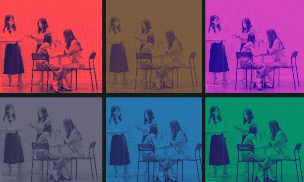 A grid design featuring a group of female students talking, sitting on chairs and standing. Each panel in the grid is a different colour and includes reds, yellows, purples, blues, greens and greys