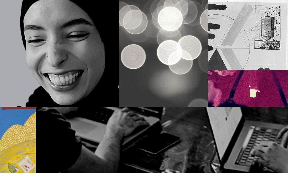 Collage of images including a woman smiling, lights, an abstract painting of purple and blue, a technical drawing of a machine and two men typing on laptops