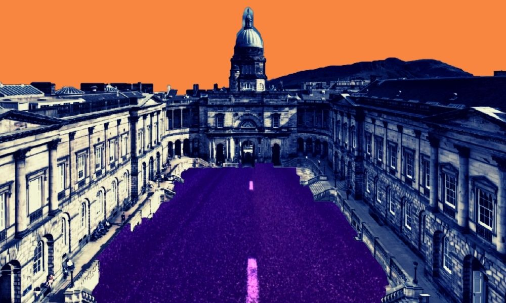 courtyard of a historic university with a domed building in the background and colomned lined buildings in the foreground. There's an orange sky and a road is running through the courtyard in an unrealistic way