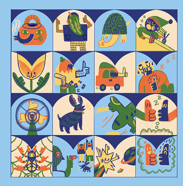 a mosaic of images of alterted subjects and objects by the artist including a teapot with a face, a blue dog with lobster claws as ears.