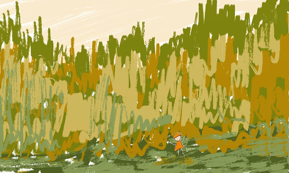 Illustration featuring large green and brown brushstrokes to represent grass with a small cartoon figure with an orange hat and clothes in the foreground. There's a brown sky.