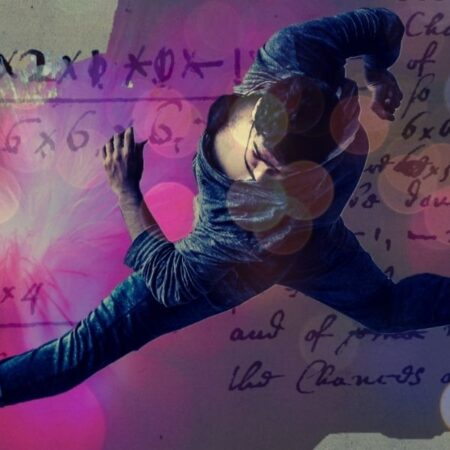 Man dancing over a backdrop of maths equations and pink and red smoke