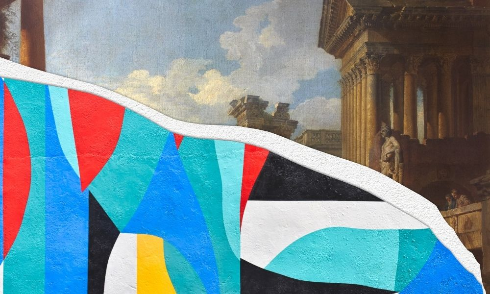 A picture divided diagonally in half with a tear. The top half of the picture is a painting of classical roman columns and statues and the bottom half of the picture is an abstract painting with a collage of colours including blues, reds, yellows, whites and blacks