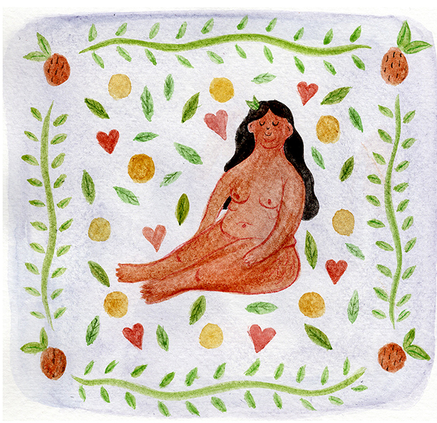 Image Credit: Illustration of a woman sitting naked framed by green surrounded by heart shapes, leaves, oranges and other fruits