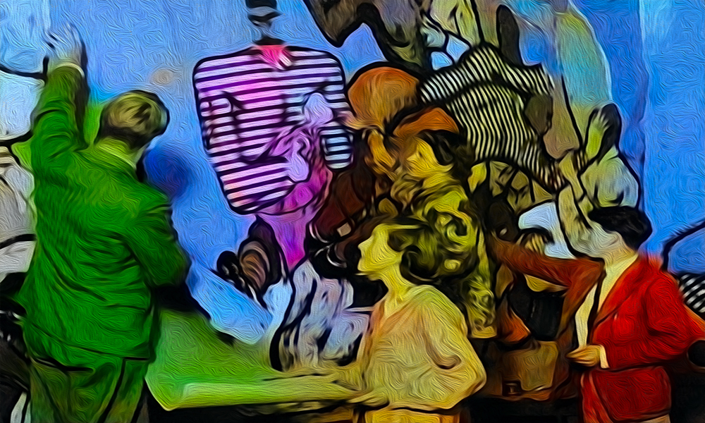 colorized image of students painting a mural on a wall