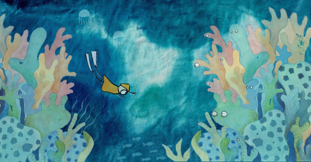Illustration of person swimming underwater with multi-coloured coral staring with eyes at the swimmer