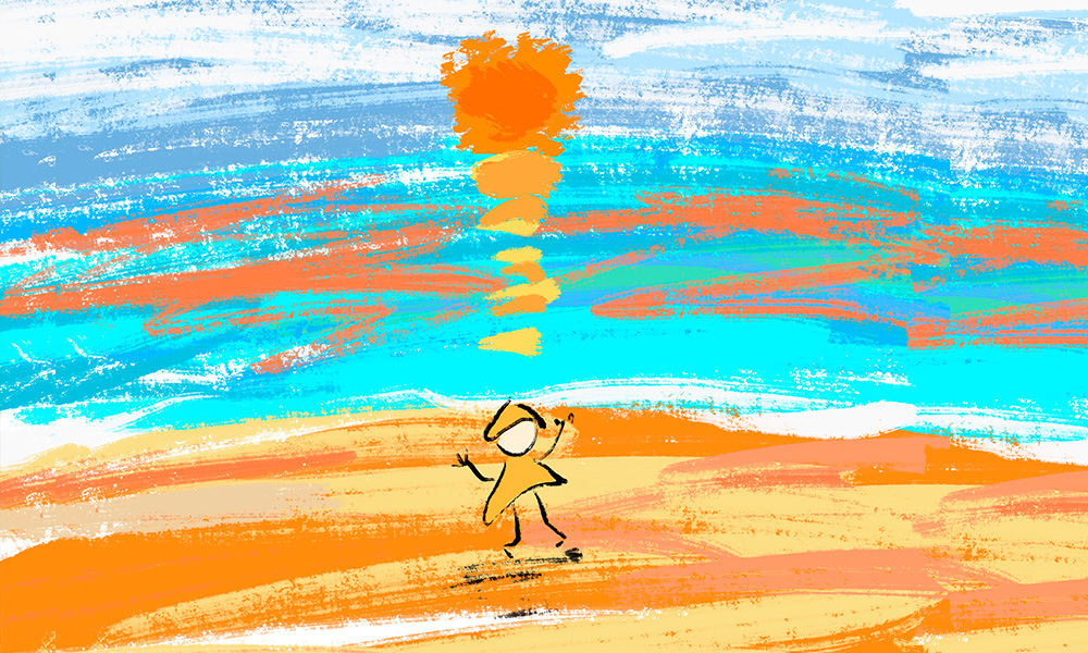 painting of person with orange hat and dress standing on a orange beach with the the reflection of an orange sun setting on the ocean blue water with the white streaks of clouds in the distance