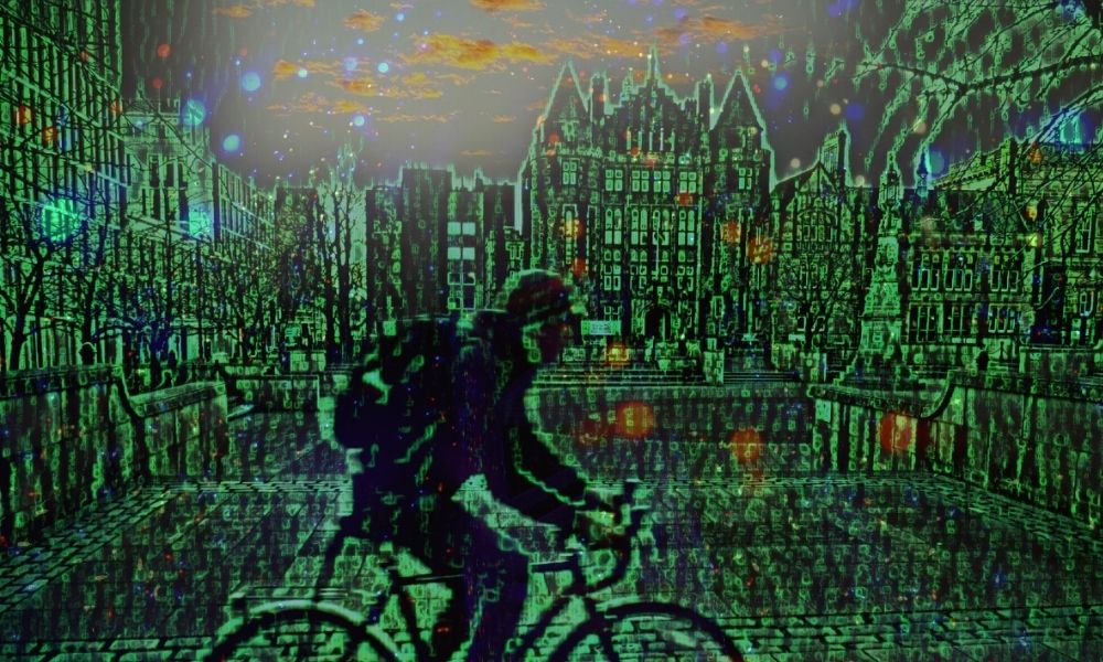 A person riding a bicycle through George Square at Edinburgh University with the image made up of binary code and coloured green