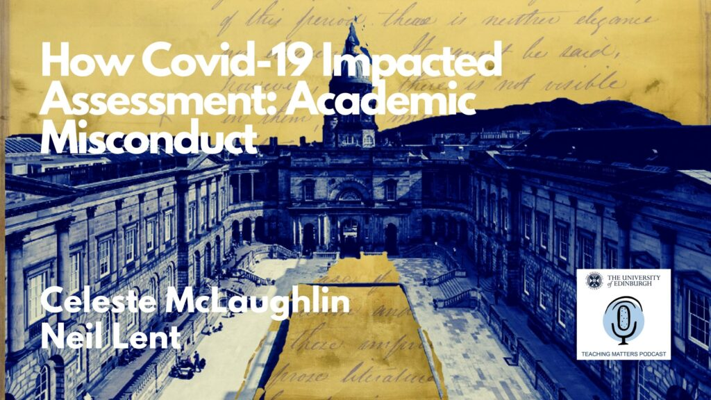 A picture of old college at the University of Edinburgh with a courtyard and writing in the sky and on the ground