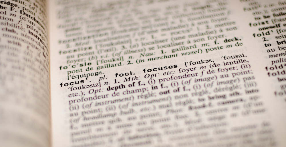 image of word entry 'focus' in dictionary